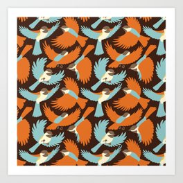 Chickadees in Brown Art Print