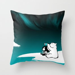 Icelandic bear, aurora borealis Throw Pillow