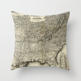 The Lost Cause, Civil War Map (1861-1865) Throw Pillow