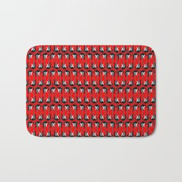 Guitars (Tiny Repeating Pattern on Red) Bath Mat