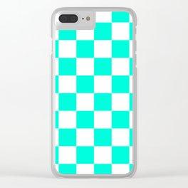 Cheerful Aqua Checkerboard Pattern Clear iPhone Case