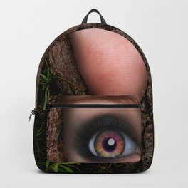 Beautiful Face trapped in a tree trunk Backpack