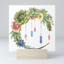 Crystal Crescent Moon With Lovely Succulents Mini Art Print