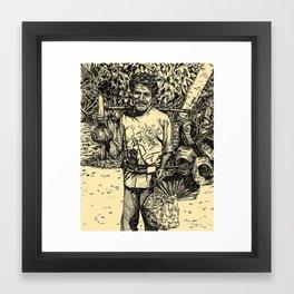 Indonesian basket man Framed Art Print