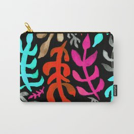 Matisse Inspired Watercolor Pattern (Aqua, Pink, Brown, Red, and Gray on Black Background) Carry-All Pouch