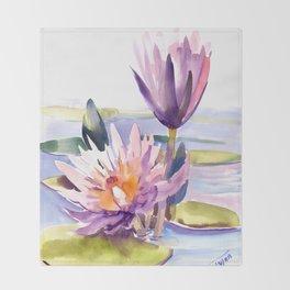 Water Lily,  Lotus, Asian Ink drawing Zen brush pink purple flower Throw Blanket