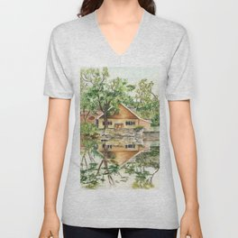 Cedarburg, Wisconsin Reflecting Pond View Unisex V-Neck