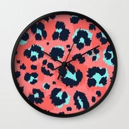 Modern Leopard skin funny hand drawn illustration pattern  Wall Clock