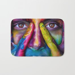 Face in the foreground with many colors Holi Indian festival Bath Mat