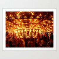 Christmas Carousel  Art Print