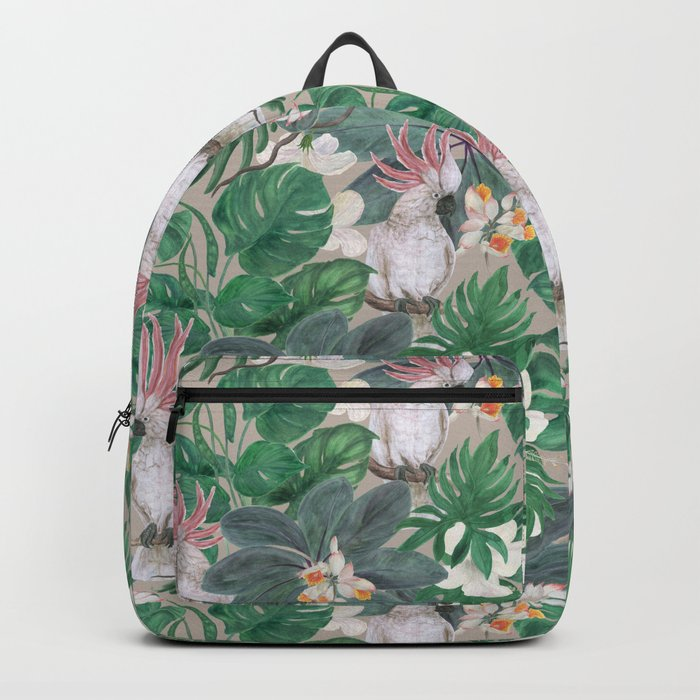 Cockatoo Birds And Ginger Hibiscus Flowers Backpack By Ramika