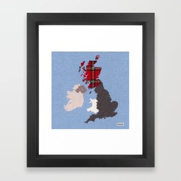 British Isles Fabric Map Art Framed Art Print
