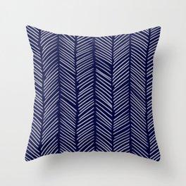 Indigo Herringbone Throw Pillow