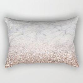 Bold ombre rose gold glitter - white marble Rectangular Pillow