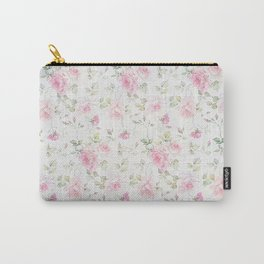 Elegant blush pink white vintage rose floral Carry-All Pouch