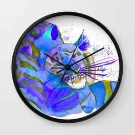 Cuddling TIgers Blue Wall Clock