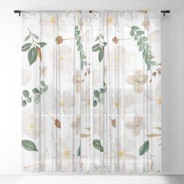 Magnolia Watercolor Floral Sheer Curtain