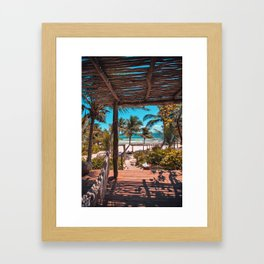 Cabana view of the Beach (Color) Framed Art Print