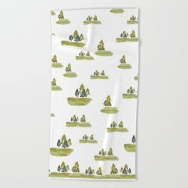 Varigated pine forest Beach Towel
