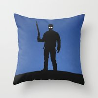 terminator Throw Pillows featuring Terminator by Nick Kemp