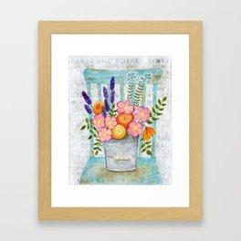 Old chair with flowers Framed Art Print