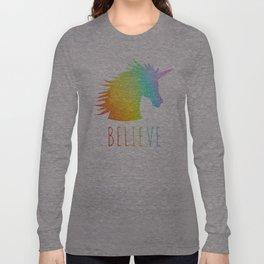 Believe     Rainbow Glitter Unicorn Long Sleeve T-shirt