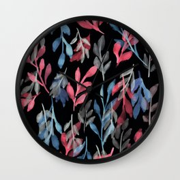 180726 Abstract Leaves Botanical Dark Mode 2 |Botanical Illustrations Wall Clock