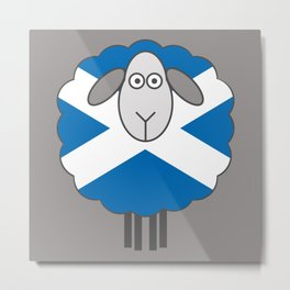 Scottish Saltire Flag Patterned Sheep Metal Print