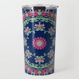 Blue floral ornament Travel Mug