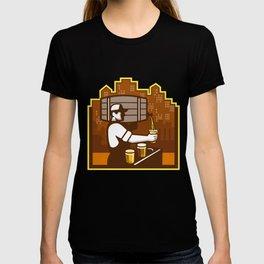 Bartender Pouring Beer Keg Cityscape Retro T-shirt