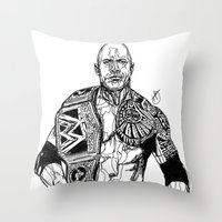 allyson johnson Throw Pillows featuring Dwayne 'The Rock' Johnson by Hollie B