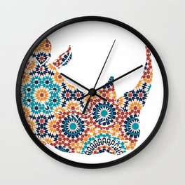 RHINO SILHOUETTE HEAD WITH FLOWER PATTERN Wall Clock