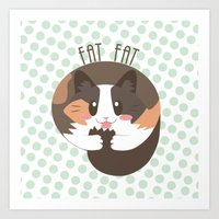 fat Art Prints featuring Fat Fat by Astrobunny