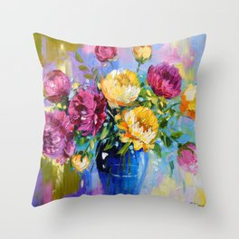 Bouquet of peonies in a vase Throw Pillow