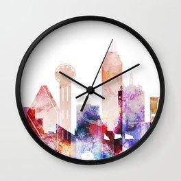 Watercolor Dallas skyline design Wall Clock