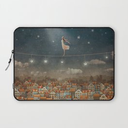 Illustration of  cute houses and  pretty girl   in night sky Laptop Sleeve