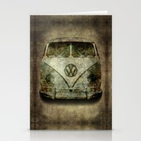 vw bus Stationery Cards featuring VW Micro Bus  by BruceStanfieldArtist illustrator