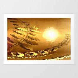 golden landscape. Art Print