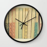 teal Wall Clocks featuring Old Books by Cassia Beck
