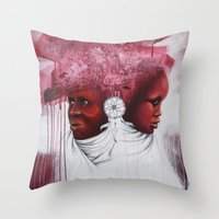 african Throw Pillows featuring African  by Sebastian Wandl