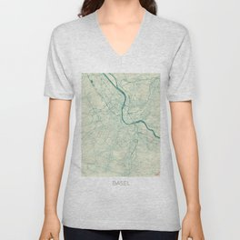 Basel Map Blue Vintage Unisex V-Neck