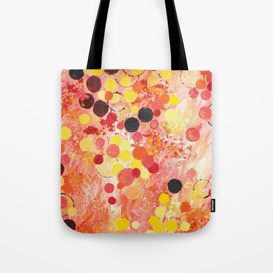 PERSONAL BUBBLE - Hot Pink Bubblegum Pop Fun Whimsical Circles Abstract Acrylic Painting Gift Tote Bag