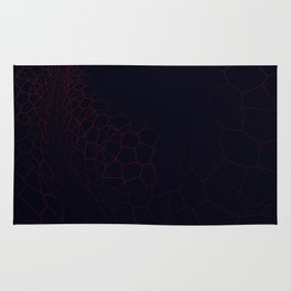 Surreal abstract fractal with red geometric shapes Rug