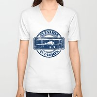 aviation V-neck T-shirts featuring Retro Aviation Art by MacDonald Creative Studios