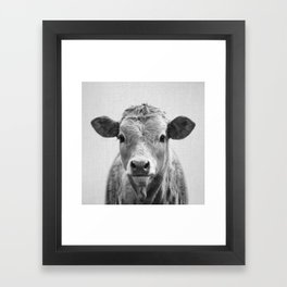 Cow 2 - Black & White Framed Art Print