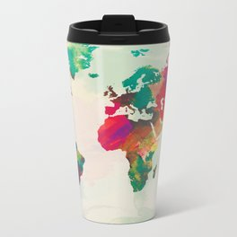 Watercolor World Map Metal Travel Mug