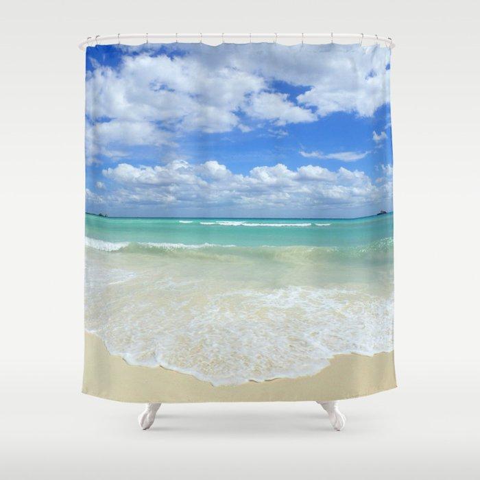 Playa Del Carmen Beach Shower Curtain by lindseyjennings | Society6