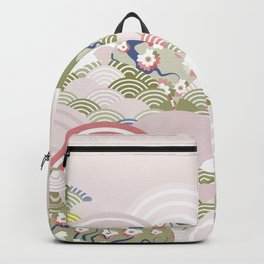 scales simple Nature background with japanese sakura flower, rosy pink Cherry, wave circle pattern Backpack
