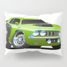 Classic Seventies Style American Muscle Car Cartoon Pillow Sham