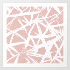 Modern white abstract geometric hand painted brushstrokes pale blush pink Art Print